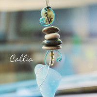 Sea Glass Rear View Mirror Charm - Beach Stones and Sea Glass, Car charm, Mirror dangle, Rear view mirror charm