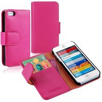 Amazon.com: i-Blason Apple New iPhone 5 Genuine Leather Book Folio Wallet Case for iPhone 5 5G 4G LTE AT&T / Verizon / Sprint CDMA GSM Version (Hot Pink): Electronics