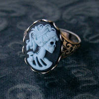 Skeleton Lady Cameo Ring- Blue and Silver - $17.50 : RagTraderVintage.com, Handmade Indie Retro Accessories