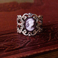 Purple Lady Filigree Ring - $17.00 : RagTraderVintage.com, Handmade Indie Retro Accessories