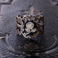 Rose Filigree Ring - $17.00 : RagTraderVintage.com, Handmade Indie Retro Accessories