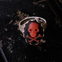 Skull Ring- Black, Red and Silver - $17.50 : RagTraderVintage.com, Handmade Indie Retro Accessories