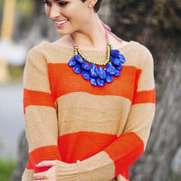 Keep Me Warm Sweater: Orange/Tan | Hope's