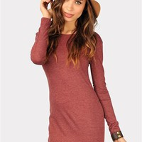 Sara Slim Longsleeve Dress - Wine at Necessary Clothing