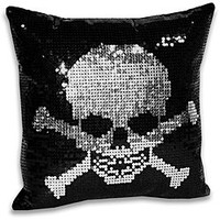 Sequin Skull and Crossbone Decorative Pillow | Overstock.com