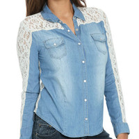 Lace Back Denim Shirt | Shop Denim on Top at Wet Seal