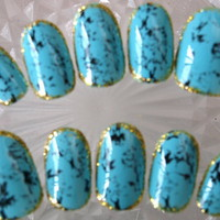Nail Tips &gt; Medium - Turquoise[M] - Worldwide shipping of Japanese nails, Deco den parts, Nail parts