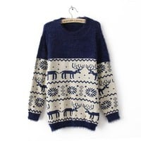 Snowflake deer patterns sweater-free shipping by ClothLess