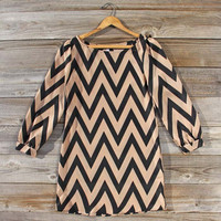 Winter Smoke Chevron Dress, Sweet Women's Bohemian Clothing
