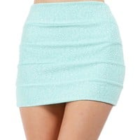 Mint Banded Glitter Mini Skirt