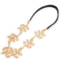 New Fashion Gold Leaf Festival Grecian Garland Hippy Forehead Head Hair Band: Beauty