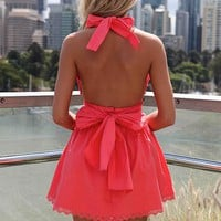 Pink Halter Dress with Open Back & Tie Bow Detail