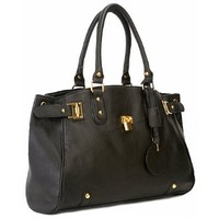 LUCCA Black Glamour Padlock Designer Inspired Shopper Hobo Tote Bag Purse Satchel Handbag w/Shoulder Strap: Shoes