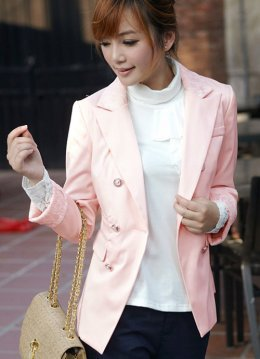 Smooth Silk Lace Decotated Neck Pink Jackets