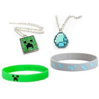 Minecraft Creeper & Diamond Pendant Necklace and Rubber Bracelet Gift Set of 4 / Official Product From Mojang: Toys & Games