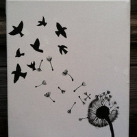 Original Canvas Painting - Dandelion and Birds