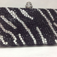 Zebra Swarovski Crystal Clutch by MDNY