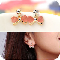 0234E Sweet Fashion Bowknot Design Opal Inlay Shiny Gemstone Stud Earring Korean