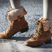 Bumper Freda-17 Military Lace Up Fold Over Boot (Taupe) - Shoes 4 U Las Vegas