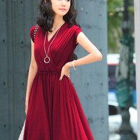 $ 12.89 Solid V Neck Spleated Dress