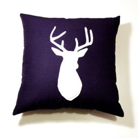 Navy Blue & White decorative deer  Pillow Cushion  - Deer Head Buck 14X14