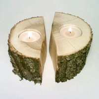Log Tealight Candle Holder. Split Log. Log Centerpiece, Rustic Centerpiece, Room Decor - SET OF 2