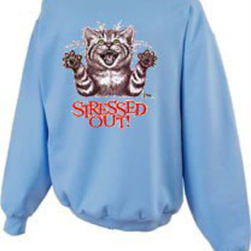 Stressed Out Cat Funny Crewneck Sweatshirt-S---5x