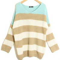Mint Stripes V-neck Loose Knitted Knitting Sweater Pullover Jumpers Tops Women