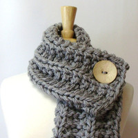 Light Grey Chunky Knit Cowl Scarf with Large Cream Button
