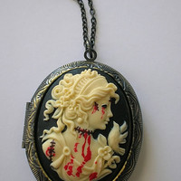 Skull Cameo Locket, Gothic Necklaces, Horror Necklaces, Psychobilly Necklaces, Goth Necklaces, Ribcage Necklaces, Punk Rock Neclaces, Punk Necklaces,