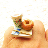 Kawaii Cute Japanese Ring Coffee And A Donut To Go Miniature Food Jewelry