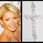 SMALL CZ Cubic Zirconia Sideways Cross Necklace Taylor Jacobson Celebrity-- All Sterling silver