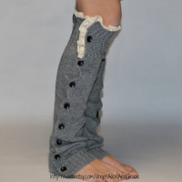 Button Light Gray Legwarmer Boot Sock leg warmer   Cyber Monday