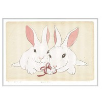 White Rabbit pair of bunnies in red ribbon You and Me by zirkulas