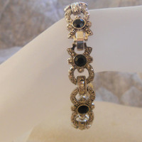 Vintage Bracelet....Jet Black Beads.. on Luulla
