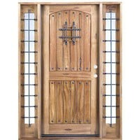 455 2SL PHF - Factory Pre-hung, Finished and Distress Entry Door in Rustic Hardwood