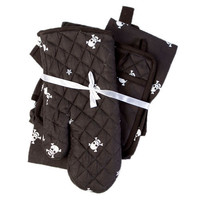 Black Skull and Crossbones Kitchen - Gift Set - Includes Oven Mitt, Apron and Dish Towel (Ships Winter 2011/12) - Skull and Crossbones Kitchen Linens