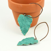 Teal Blue Leaf Earrings Rustic Brass Patina by AbacusBeadCreations