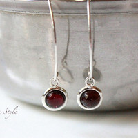 Modern Earrings, Gemstone Earrings, Garnet Cabochon Earrings, Drop Contemporary, January Birthday