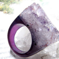 Eva Couture Royal Purple Agate and Druzy Cocktail Ring by eringotz