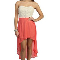 coral chiffon strapless high low dress with lace bodice  - debshops.com