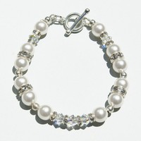 Swarovski Crystal White and AB Bicone Bracelet, Bridesmaid Gift - by craftimade on madeit