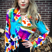 Vintage Multicolor Button Up Crop Tie Top