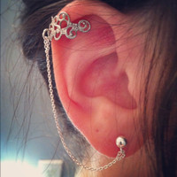 FREE SHIPPING - Ear Cuff w/ Sterling Silver Delicate Chain and Connecting Post.