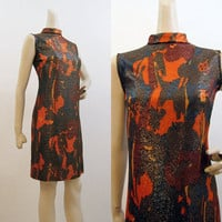 60s Dress Vintage MOD Modernist Gold Lame Lurex Mini Dress S