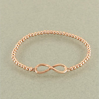 Infinity Bracelet, Tiny infinity Bracelet, Infinity  Beaded Bracelet, Number 8, eternity, infinite, 14k Rose Gold Plated