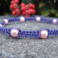 Purple Micro-Macramé Bracelet with Pink Pearls