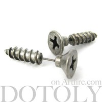 3D Fake Gauge Realistic Nuts and Bolts Screw Stud Earrings by Dotoly