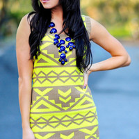 Obsessed With Aztec Sweater Dress: Yellow | Hope's
