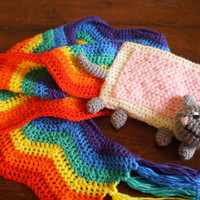 Nyan Cat kawaii meme rainbow scarf